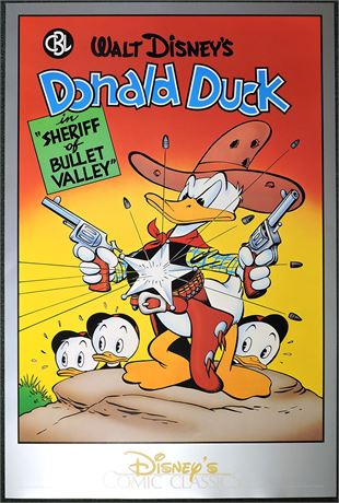 "Comic Book Library Poster #4 Donald as the ""Sheriff of Bullet Valley"""